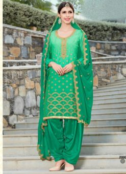 Excellent Green Shaded Georgette Designer Patiyala Salwar Kameez
