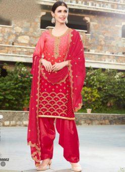 Magnificent Magenta Shaded Georgette Designer Patiyala Salwar Kameez