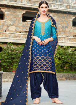 Splendid Blue Shaded Georgette Party Wear Patiyala Salwar Kameez
