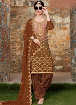 Attractive Brown Shaded Georgette Designer Patiyala Salwar Kameez