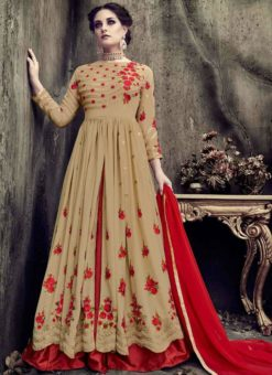 Lovely Beige Georgette Embroidered Work Designer Long Lehenga Choli