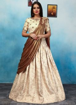 Amazing Beige Jacquard Party Wear Designer Lehenga Choli