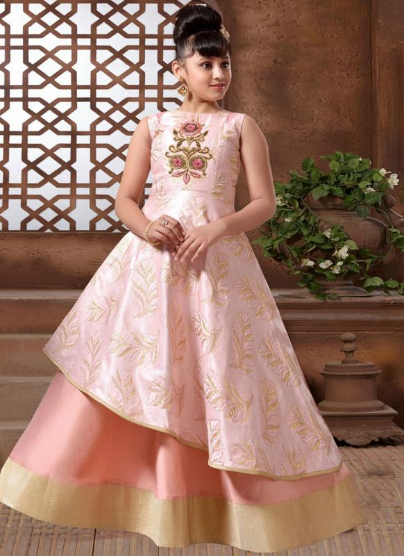 Charming Pink Silk Party Wear Designer Kids Gown -- miraamall - USA ...