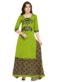 Magnificent Green Cotton Embroiered Wrok Long Lehenga Choli