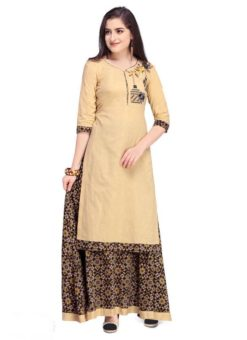 Blisful Beige Cotton Embroidered Work Party Wear Long Lehenga Choli