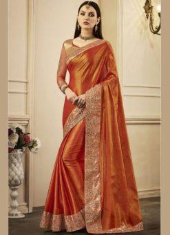 Marvellous Orange Chanderi Silk Designer Party Wear Saree