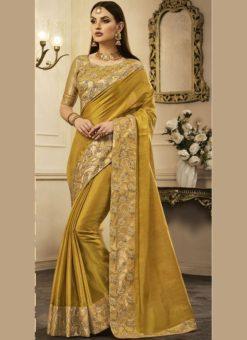 Spectacular Yellow Designer Chanderi Silk Party Wear Saree