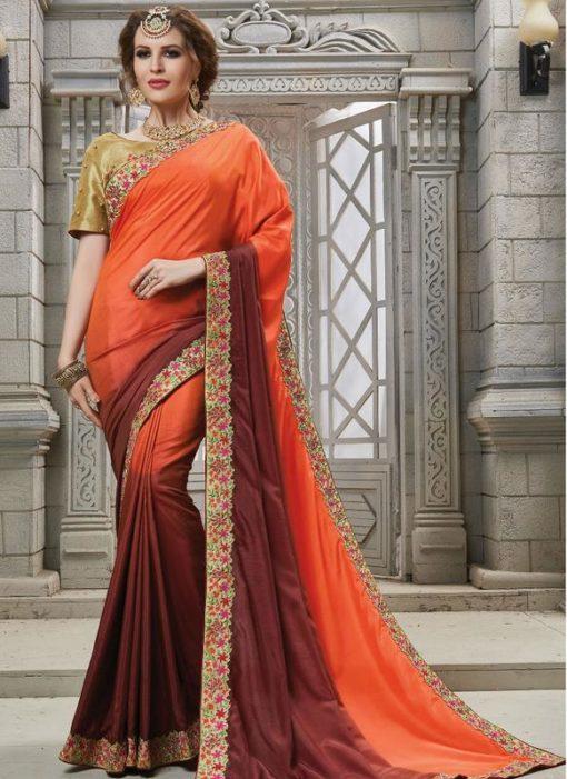 Fantastic Orange And Brown Patch Border Designer Saree