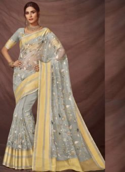Lovely Grey Silk Embroidered Work Party Wear Saree