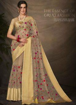 Fantastic Beige Silk Embroidered Work Designer Saree