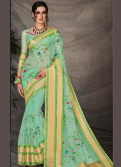 Super Aqua Green Silk Embroidered Work Designer Party Wear Saree