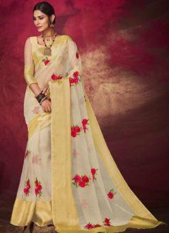 Beautiful Beige Silk Designer Embroidered Work Saree