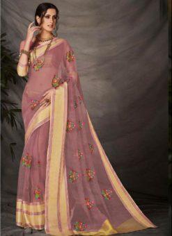 Magnificent Pink Silk Embroidered Work Designer Saree
