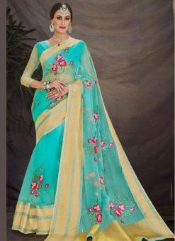 Captivating Aqua Green Designer Embroidered Work Saree