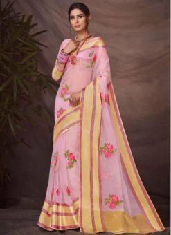 Pretty Pink Silk Embroidered Wrok Designer Saree