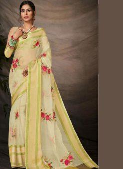 Adorable Beige Silk Embroidered Work Party Wear Saree