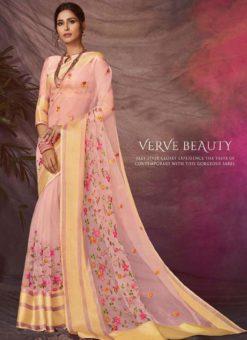 Awesome Pink Silk Embroidered Work Designer Saree
