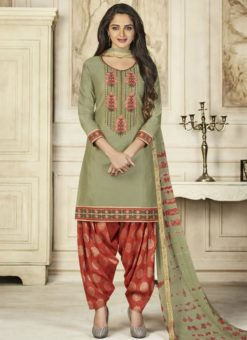 Graceful Green Cotton Embroidered Work Patiyala Salwar Suit