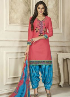 Amazing Peach Cotton Embroidered Work Patiyala Salwar Suit