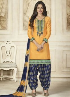 Excellent Yellow Cotton Embroidered Work Patiyala Salwar Suit