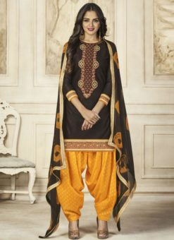Attractive Black Cotton Embroidered Work Patiyala Salwar Suit
