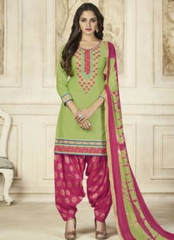 Beautiful Green Cotton Embroidered Work Patiyala Salwar Suit