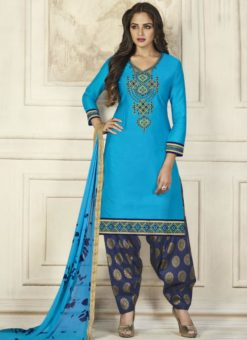 Blisful Blue Cotton Embroidered Work Patiyala Salwar Suit