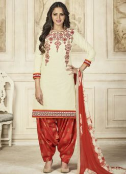 Resplendent Off White Cotton Embroidered Work Patiyala Salwar Suit