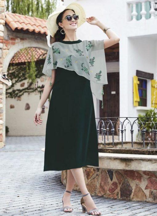 Attractive Green Georgette Designer Party Wear Kurti