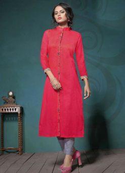 Modish Red Khadi Cotton Plain Casual Kurti