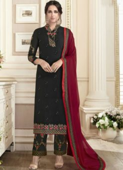 Fantastic Black Georgette Embroidered Work Straight Salwar Suit