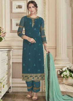 Amazing Turquoise Georgette Embroidered Work Straight Salwar Suit