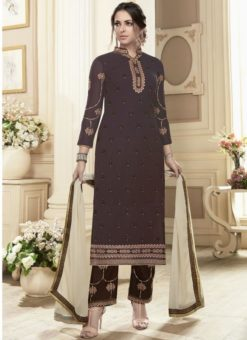 Superb Brown Georgette Embroidered Work Straight Salwar Suit