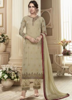 Charming Beige Georgette Embroidered Work Straight Salwar Suit