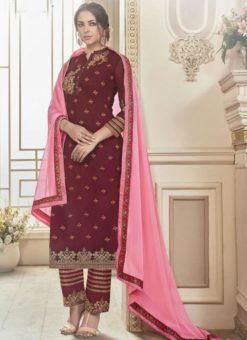 Beautiful Maroon Embroidered Work Straight Salwar Suit
