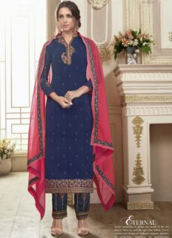 Excellent Navy Blue Georgette Embroidered Work Straight Salwar Suit