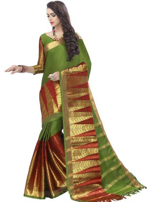 Lovely Green Cotton Zari Print Designer Saree