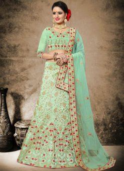Elegant Green Silk Designer Embroidered Work Wedding Lehenga Choli