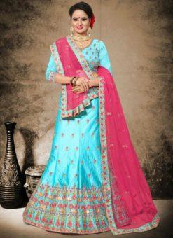 Aesthetic Sky Blue Satin Embroidered Work Designer Lehenga Choli