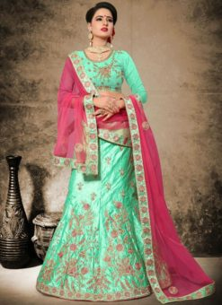 Attractive Aqua Green Satin Designer Embroidered Work Lehenga Choli