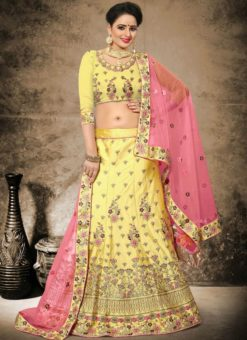 Beautiful Yellow Satin Designer Wedding Wear Lehenga Choli
