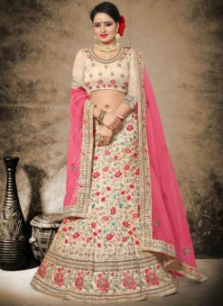 Pleasing Beige Silk Designer Embroidered Wrok Wedding Lehenga Choli