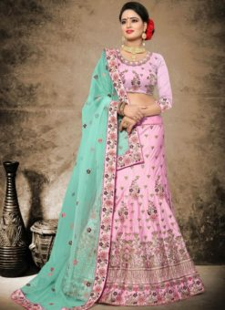 Charming Pink Satin Wedding Wear Embroidered Work Lehenga Choli