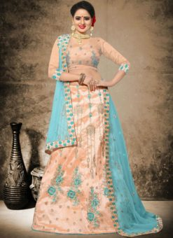 Amazing Peach Silk Designer Embroidered Work Lehenga Choli