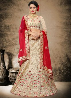 Appealing Beige Silk Embroidered Work Designer Lehenga Choli