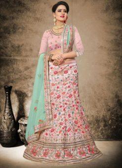 Pleasant Pink Silk Designer Wedding Wear Lehenga Choli