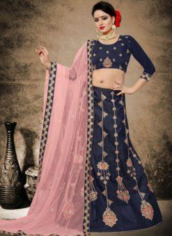 Delicious Blue Satin Designer Embroidered Work Lehenga Choli