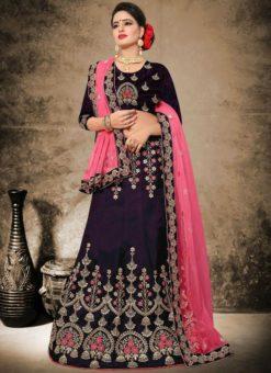 Excellent Magenta Satin Embroidered Work Designer Lehenga Choli