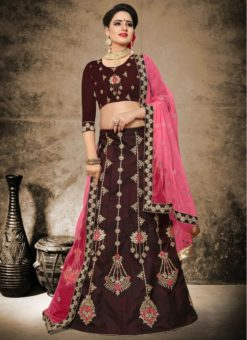 Delightful Brown Satin Designer Embroidered Work Lehenga Choli