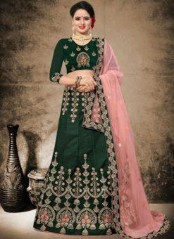 Splendid Green Satin Designer Wedding Wear Lehenga Choli